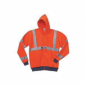 Orange 100% Polyester Hooded Sweatshirt, Size: 2XL, ANSI Class 3