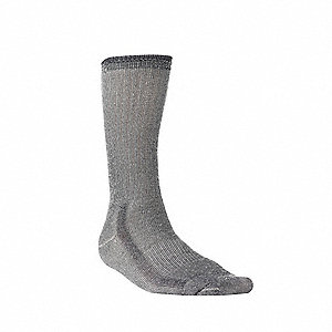 Crew 75% Merino Wool, 24% Stretch Nylon, 1% Spandex Hiking Socks, Men's, Gray, 1 PR