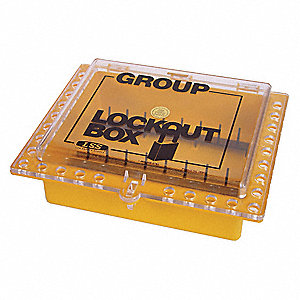 "Yellow Plastic Group Lockout Box, Max. Number of Padlocks: 27, 11"" Height, 12-1/2"" Width"