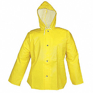Rain Jacket with Hood,Yellow,2XL
