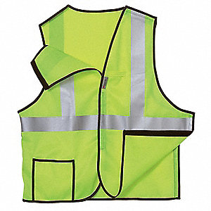 Yellow Breakaway High Visibility Vest, Size: L, 2 ANSI Class, Hook-and-Loop Closure Type