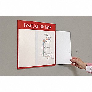 Evacuation Map Holder,11x17,White on Red