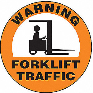 Floor Sign,8In,Warning Forklift,PK2