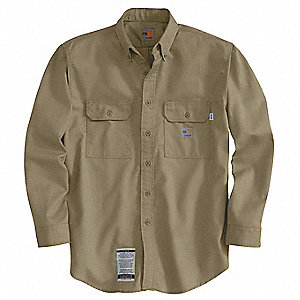 "Khaki Flame-Resistant Collared Shirt, Size: L, Fits Chest Size: 42 to 44"", 8.6 cal./cm2 ATPV Rating"