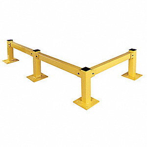 Safety Yellow Guard Rail, Steel, Bolt On Mounting Style, 8 ft. Nominal Length