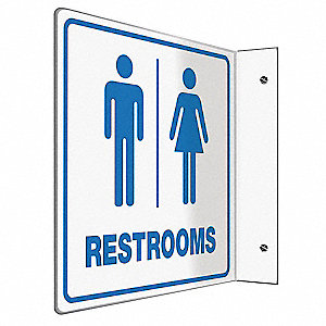 Restroom Sign,8 x 8In,BL/WHT,PS,ENG,Text