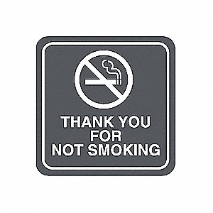 No Smoking Sign,5-1/2 x 5-1/2In,WHT/R