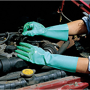 Nitrile Chemical Resistant Gloves, 16 mil Thickness, Flock Lining, Size 10, Green, PR 1