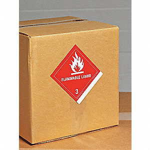 "Shipping Labels, Flammable Liquid (Blank) Legend, Paper, 4-1/2"" Width, 4"" Height"