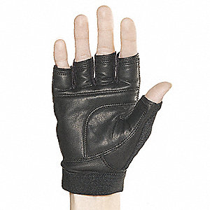 Leather Mechanics Gloves, Leather Palm Material, Black, M, PR 1