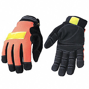 Cold Protection Gloves, Micro Fleece Lining, Shirred Cuff, Hi Visibility Orange, L, PR 1