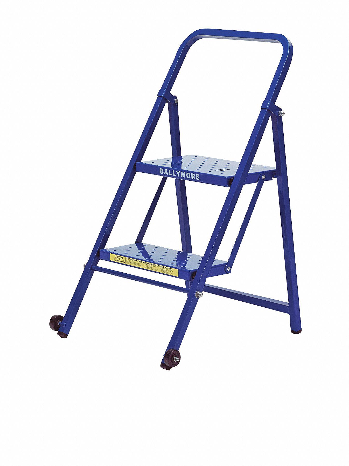 Ballymore Folding Rolling Ladder Steel 20 In H 9cud8