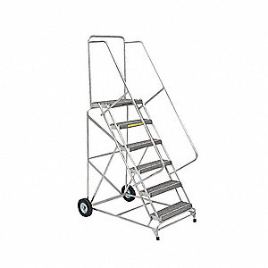 "Wheelbarrow Ladder, 133"" Overall Height, 300 lb. Load Capacity, Number of Steps 10"