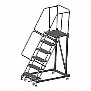 "Safety Rolling Ladder, 93"" Overall Height, 800 lb. Load Capacity, Number of Steps 6"