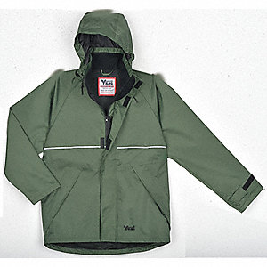 "Men's Green 420D Soft Flex Nylon Rain Jacket with Detachable Hood, Size L, Fits Chest Size 42"" to 44"