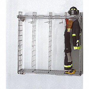 Chrome Turnout Gear Storage Rack, Wall Mount Mounting, Number of Sides: 1