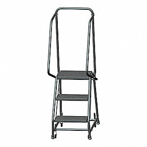 "Rolling Ladder, 58-1/2"" Overall Height, 450 lb. Load Capacity, Number of Steps 3"