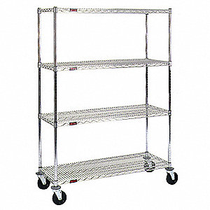 "Zinc Plated Mobile Wire Shelving Unit Starter, 79"" Height, 48"" Width, Number of Shelves 4"