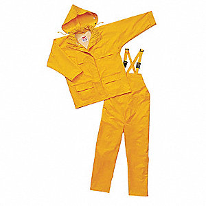 "Men's Yellow 150D Rip-Stop Polyester 3-Piece Rainsuit with Hood, Size: 3XL, Fits Chest Size: 54"" to"