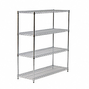 "Chrome Wire Shelving Unit Starter, 86"" Height, 60"" Width, Number of Shelves 4"
