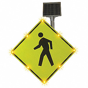 Pedestrian Crossing Pictogram LED Traffic Sign, Amber LED Color, Power Requirements: Solar