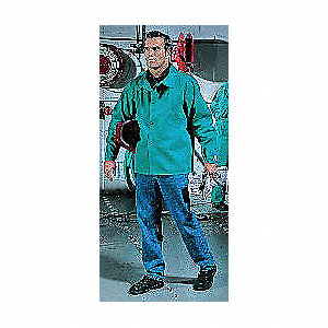 "Green 100% 9 oz. Flame-Resistant Cotton Welding Jacket, Size: M, 30"" Length"