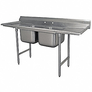 Stainless Steel Scullery Sink with Drainboards, Without Faucet, 18 Gauge, Floor Mounting Type