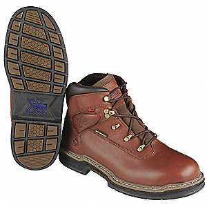 "6""H Men's Work Boots, Plain Toe Type, Leather Upper Material, Dark Brown, Size 9"