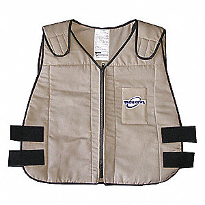 Cooling Vest, Polyester Outer, Cotton Inner, With Thermal Liner, Khaki, L/XL