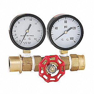 Water Pressure Gauge and Water Flow Rate Meter, Test Gauge Type, 0 to 160 psi, 0 to 13 gpm Range, 2-