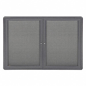 "Enclosed Bulletin Board, Tack Board Style, Fabric, 33-3/4"" Height, 46-7/8"" Width"