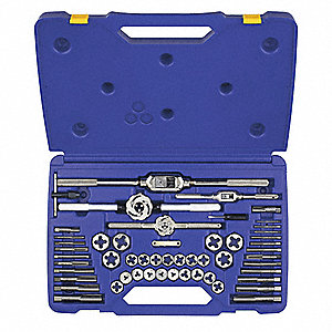 Raw Steel Tap and Die Set, Metric, Number of Pieces: 53, M3 to M18, 1/8-28 BSP, 1/4-19 BSP Size/Rang