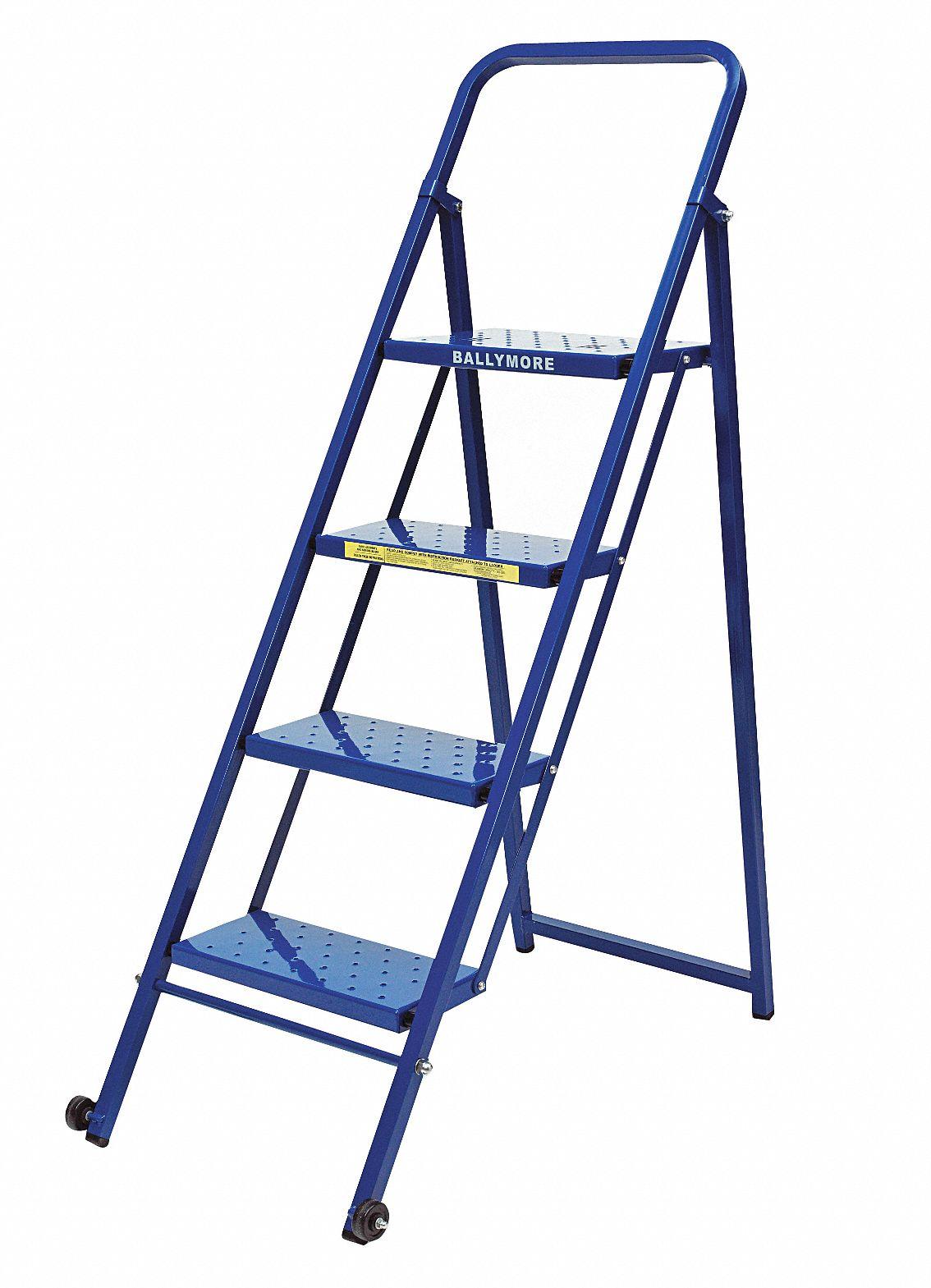 Ballymore Folding Rolling Ladder Steel 40 In H 9l881