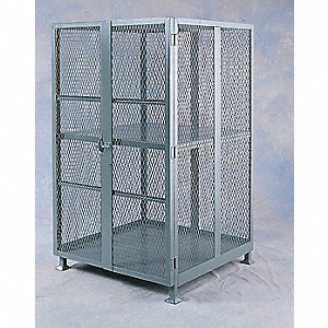 Security Storage Unit,72x48x30,w/Casters