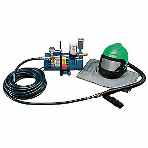 Supplied Air Pump Package, 3/4 HP, People Served: 1, Headgear Included: Nova 2000  Abrasive Blasting