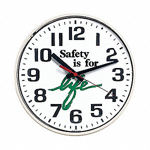 Wall Clock,Safety is for Life,12 in.