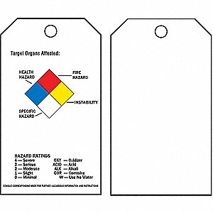 Target Organs Affected (NFPA Diamond) Tag, 25 PK