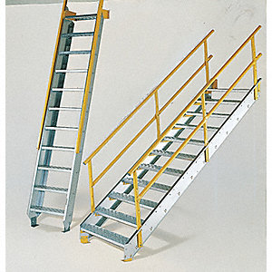 Stair Unit, Galvanized Steel, 1800 lb. Load Capacity, Number of Steps: 17