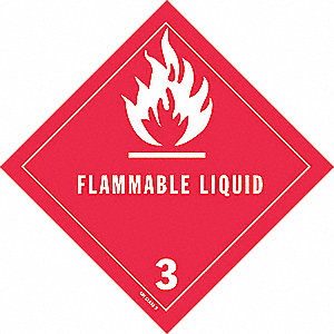 DOT Label,4 In. H,Flammable Liquid,PK25