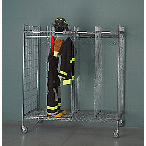 Chrome Turnout Gear Storage Rack, Mobile Mounting, Number of Sides: 2