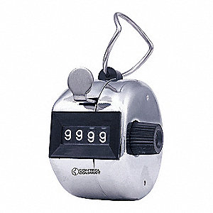 Mechanical Tally Counter, Silver, Number of Digits: 4, Hand Held Mounting