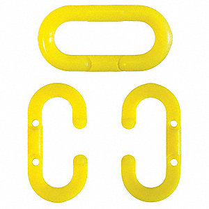 Chain Link,1-1/2 In.,Yellow,Acetal,PK10