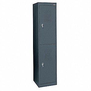 "Ventilated Wardrobe Locker, Assembled, Two Tier, 15"" Overall Width"