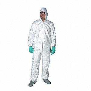 Hooded Disposable Coverall,3XL,White