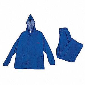 "Men's Blue Nylon 2-Piece Rainsuit with Hood, Size: M, Fits Chest Size: 38"" to 40"""