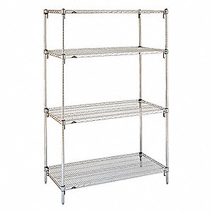 "Chrome Plated Wire Shelving Unit Starter, 63"" Height, 48"" Width, Number of Shelves 4"