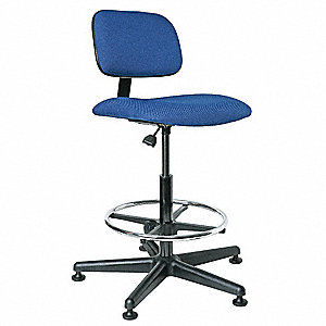 "Blue Swivel Stool, 22-1/2"" to 32-1/2"" Seat Height Range"