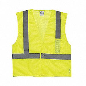 Lime High Visibility Vest, Size: L, 2 ANSI Class, Hook-and-Loop Closure Type