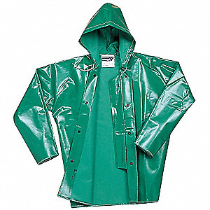 FR Rain Jacket with Hood,Green,L