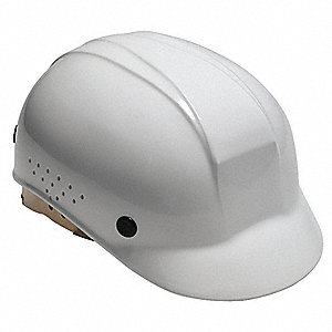 White Polyethylene Vented Bump Cap, Style: Front Brim, Fits Hat Size: 6-1/2 to 8